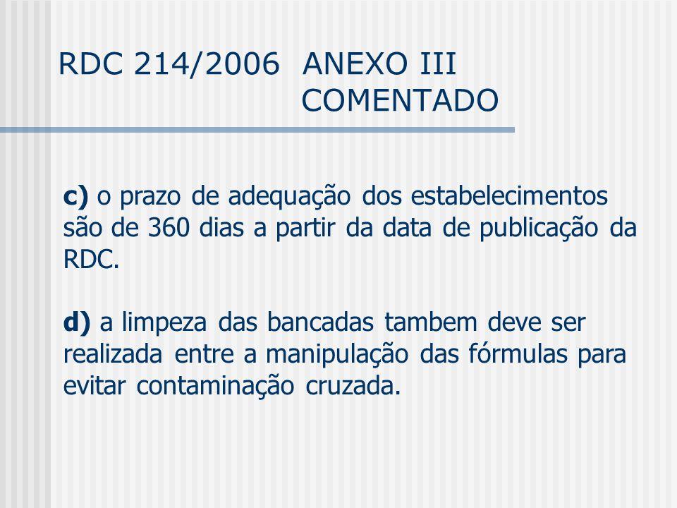 RDC 214/2006 ANEXO III COMENTADO c) o prazo de adequação dos estabelecimentos são de 360 dias a partir da data de publicação da RDC.