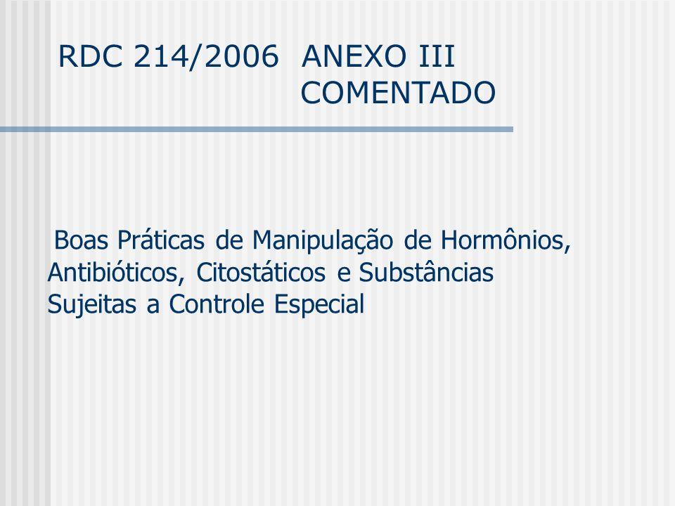 RDC 214/2006 ANEXO III COMENTADO Boas Práticas de Manipulação de Hormônios, Antibióticos, Citostáticos e Substâncias Sujeitas a Controle Especial