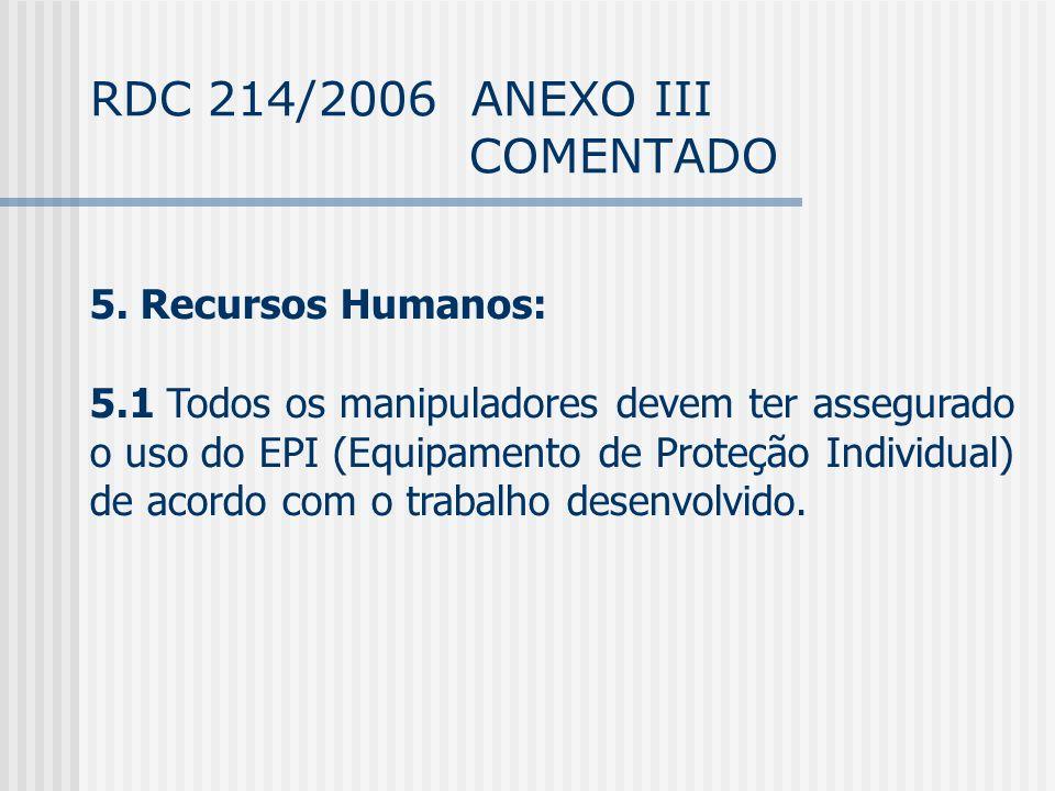 RDC 214/2006 ANEXO III COMENTADO 5.
