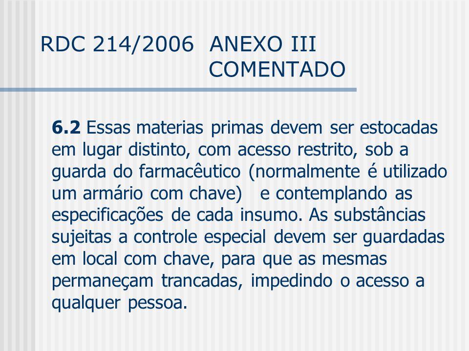 RDC 214/2006 ANEXO III COMENTADO 6.2 Essas materias primas devem ser estocadas em lugar distinto, com acesso restrito, sob a guarda do farmacêutico (normalmente é utilizado um armário com chave) e contemplando as especificações de cada insumo.