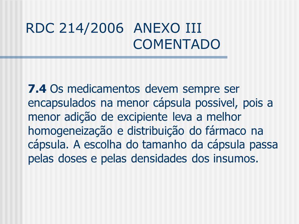 RDC 214/2006 ANEXO III COMENTADO 7.4 Os medicamentos devem sempre ser encapsulados na menor cápsula possivel, pois a menor adição de excipiente leva a melhor homogeneização e distribuição do fármaco na cápsula.