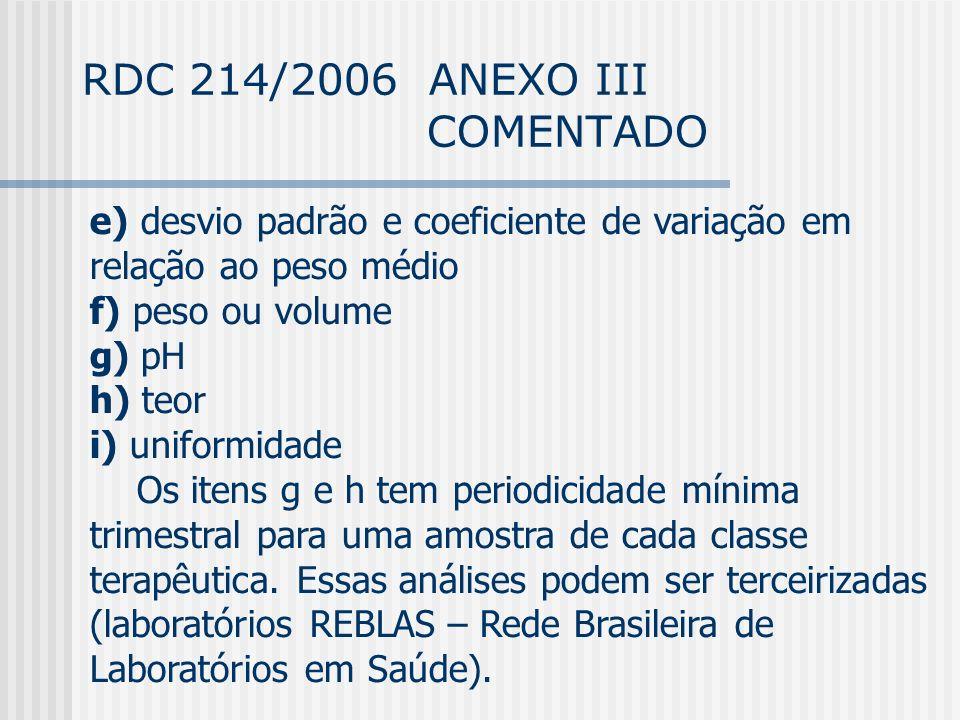 RDC 214/2006 ANEXO III COMENTADO e) desvio padrão e coeficiente de variação em relação ao peso médio f) peso ou volume g) pH h) teor i) uniformidade Os itens g e h tem periodicidade mínima trimestral para uma amostra de cada classe terapêutica.