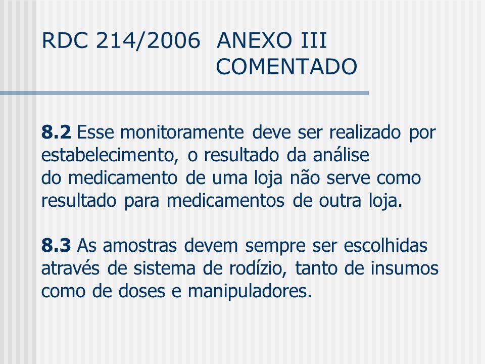 RDC 214/2006 ANEXO III COMENTADO 8.2 Esse monitoramente deve ser realizado por estabelecimento, o resultado da análise do medicamento de uma loja não serve como resultado para medicamentos de outra loja.