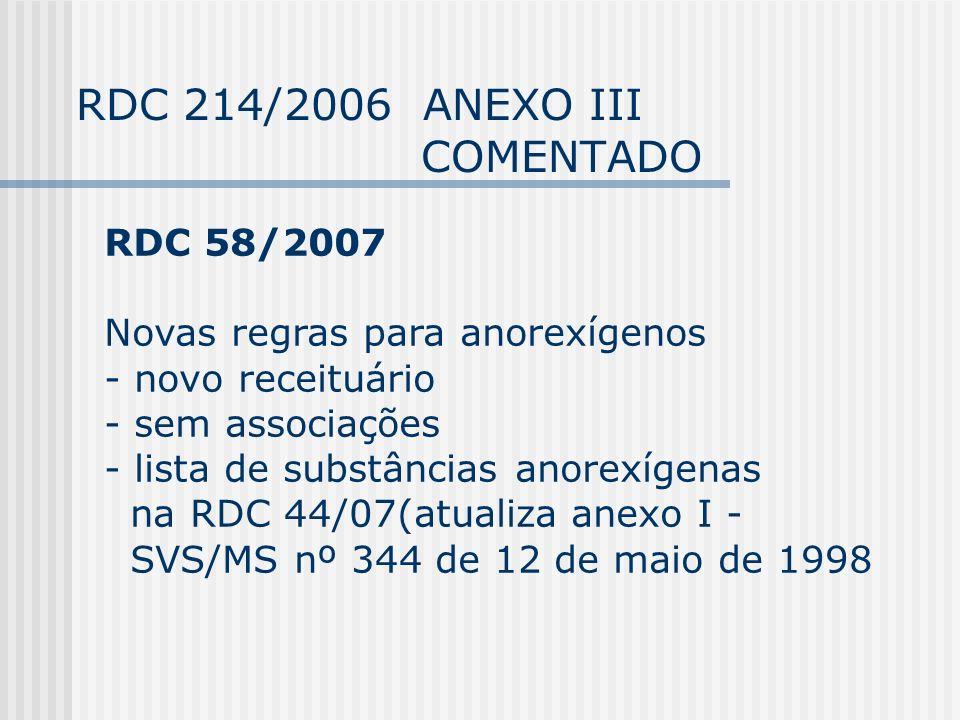 RDC 214/2006 ANEXO III COMENTADO RDC 58/2007 Novas regras para anorexígenos - novo receituário - sem associações - lista de substâncias anorexígenas na RDC 44/07(atualiza anexo I - SVS/MS nº 344 de 12 de maio de 1998