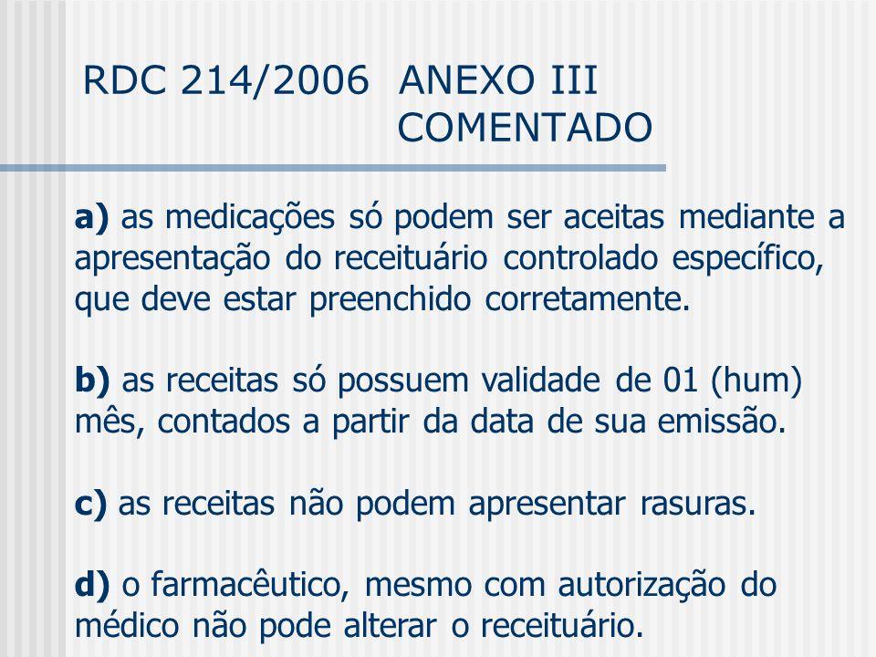 RDC 214/2006 ANEXO III COMENTADO a) as medicações só podem ser aceitas mediante a apresentação do receituário controlado específico, que deve estar preenchido corretamente.