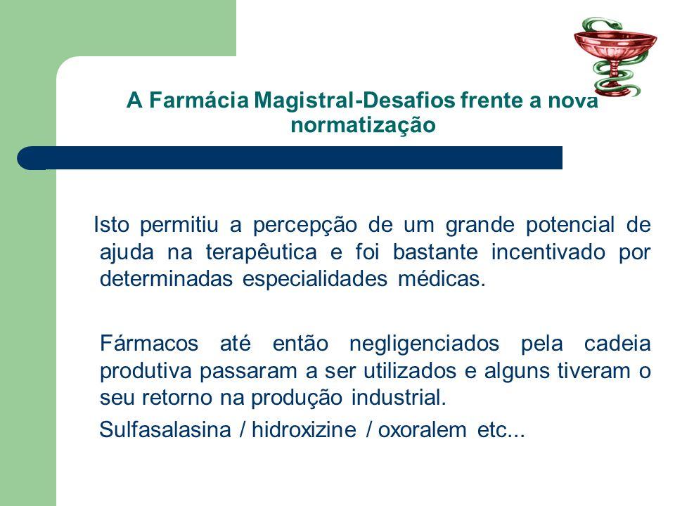 A Farmácia Magistral-Desafios frente a nova normatização A farmácia com manipulação com o seu lugar diferenciado garantido, começa a buscar novos espaços.