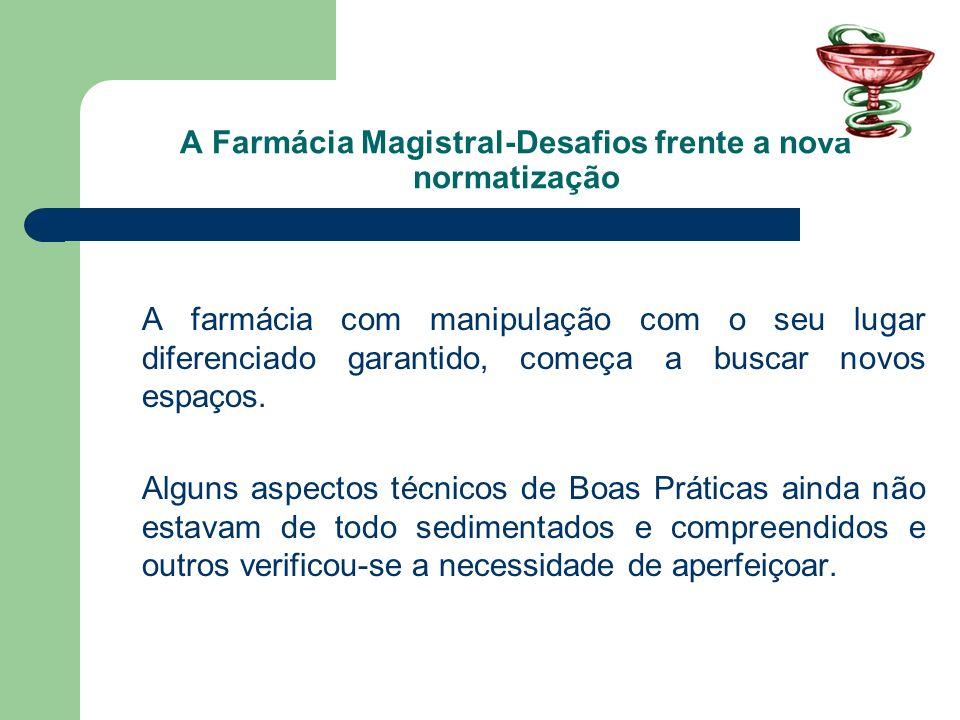 A Farmácia Magistral-Desafios frente a nova normatização A farmácia com manipulação com o seu lugar diferenciado garantido, começa a buscar novos espa