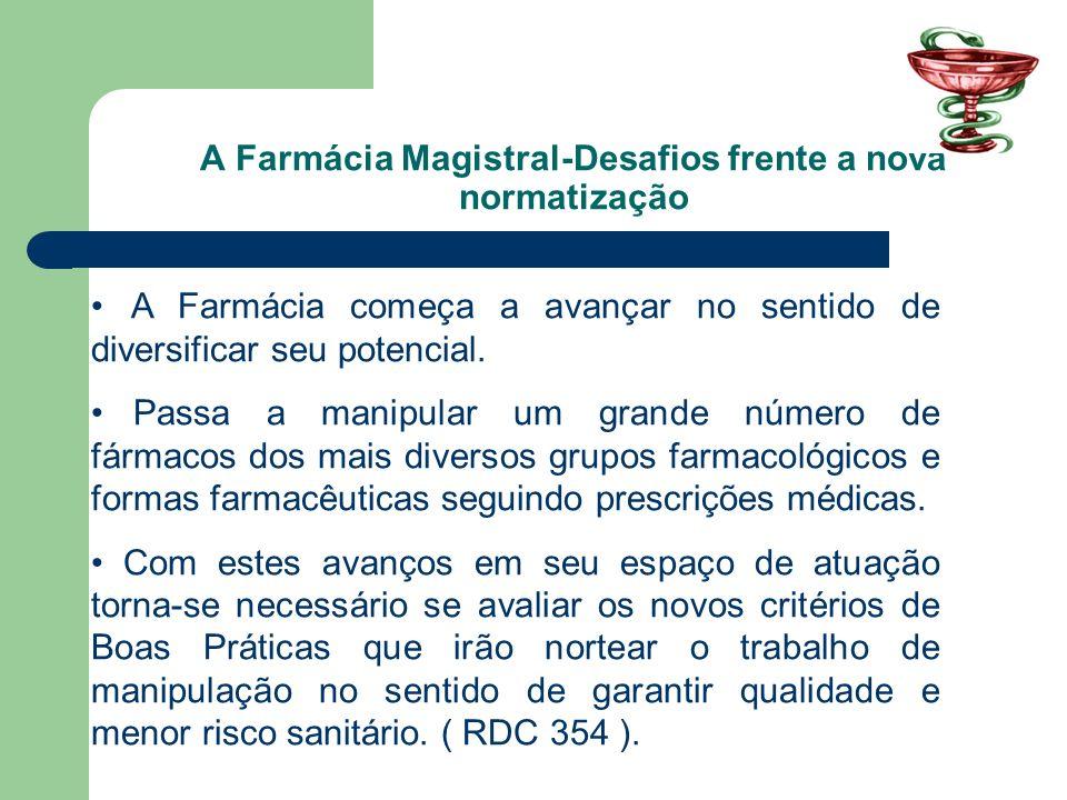 A Farmácia Magistral-Desafios frente a nova normatização A Farmácia começa a avançar no sentido de diversificar seu potencial. Passa a manipular um gr