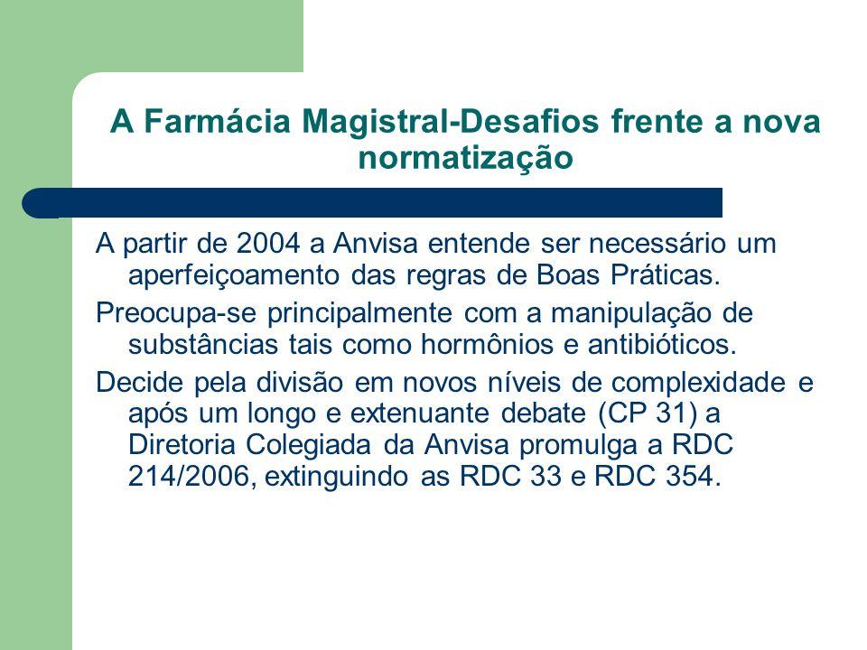 A Farmácia Magistral-Desafios frente a nova normatização A partir de 2004 a Anvisa entende ser necessário um aperfeiçoamento das regras de Boas Prátic