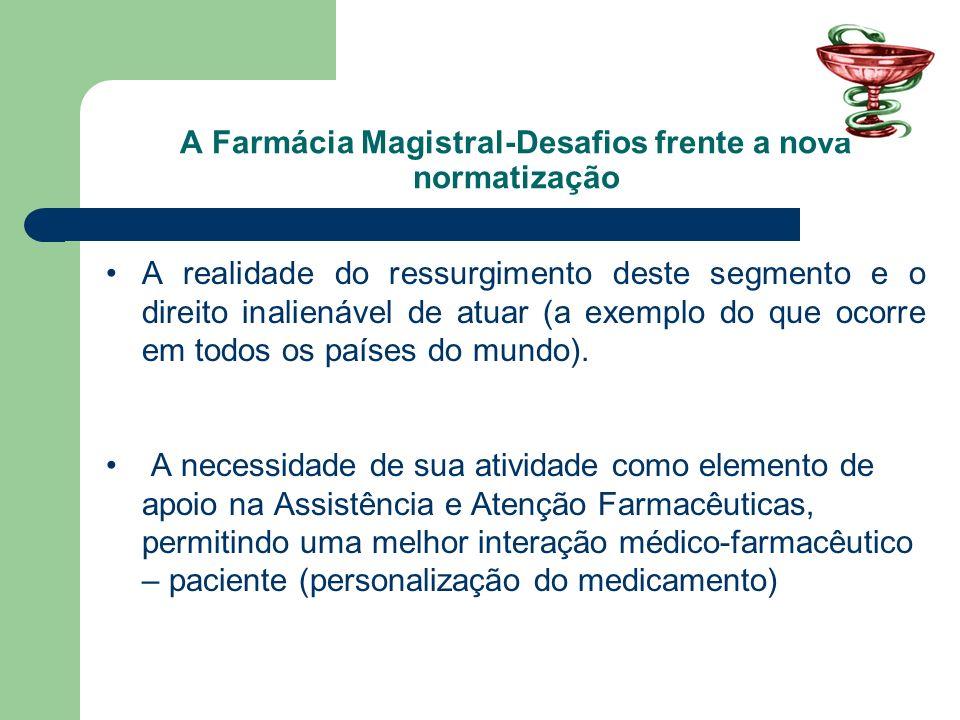 A Farmácia Magistral-Desafios frente a nova normatização A realidade do ressurgimento deste segmento e o direito inalienável de atuar (a exemplo do qu