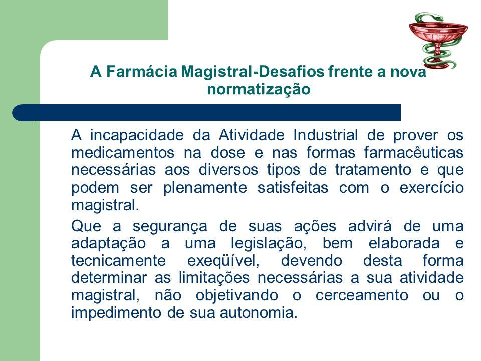 A Farmácia Magistral-Desafios frente a nova normatização A incapacidade da Atividade Industrial de prover os medicamentos na dose e nas formas farmacê