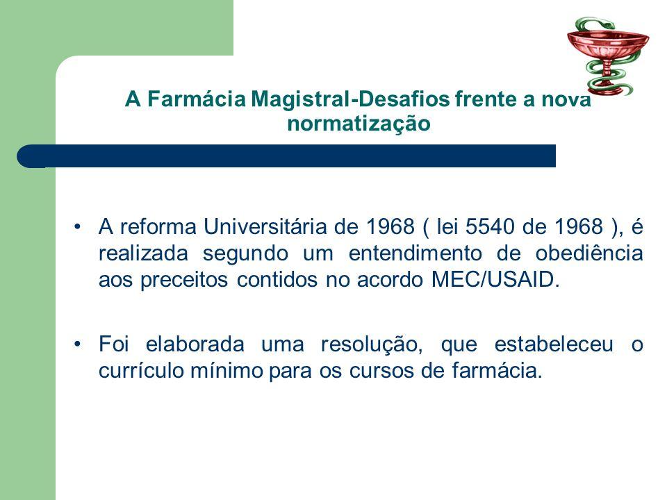 A Farmácia Magistral-Desafios frente a nova normatização A reforma Universitária de 1968 ( lei 5540 de 1968 ), é realizada segundo um entendimento de