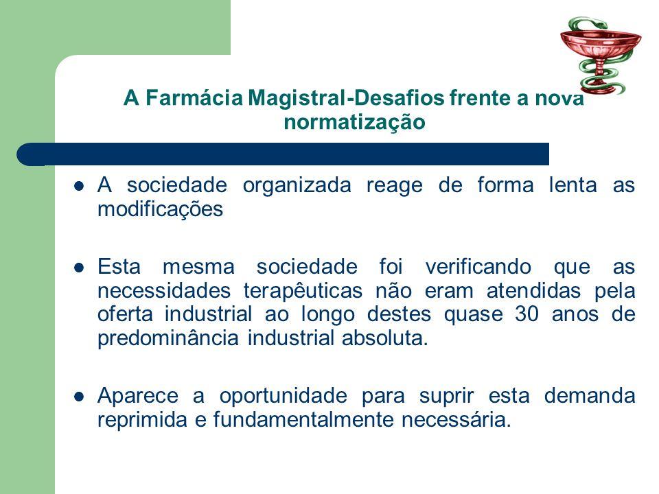A Farmácia Magistral-Desafios frente a nova normatização Ressurge a farmácia com manipulação e ocupa um espaço importante na Assistência Farmacêutica.