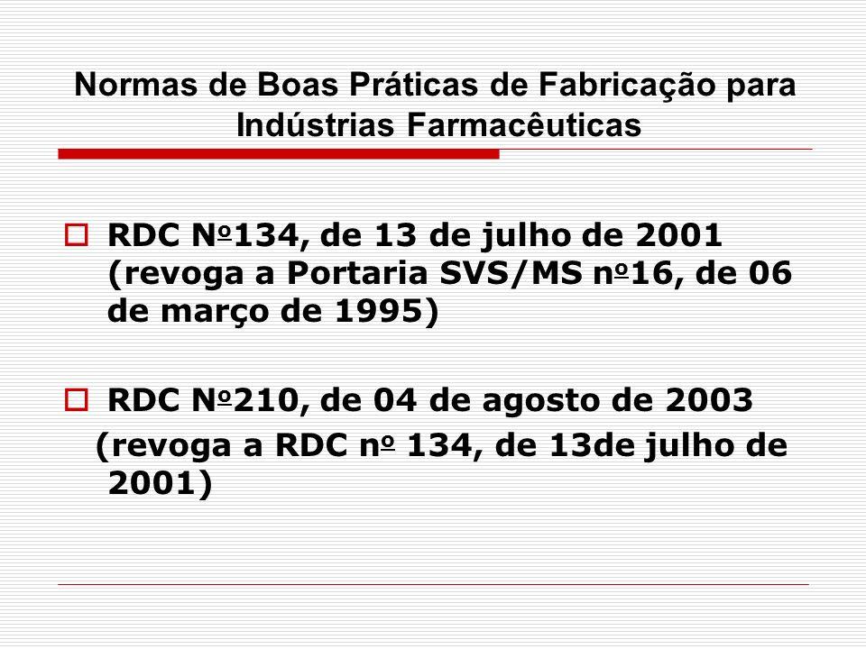 RDC N o 134, de 13 de julho de 2001 (revoga a Portaria SVS/MS n o 16, de 06 de março de 1995) RDC N o 210, de 04 de agosto de 2003 (revoga a RDC n o 1