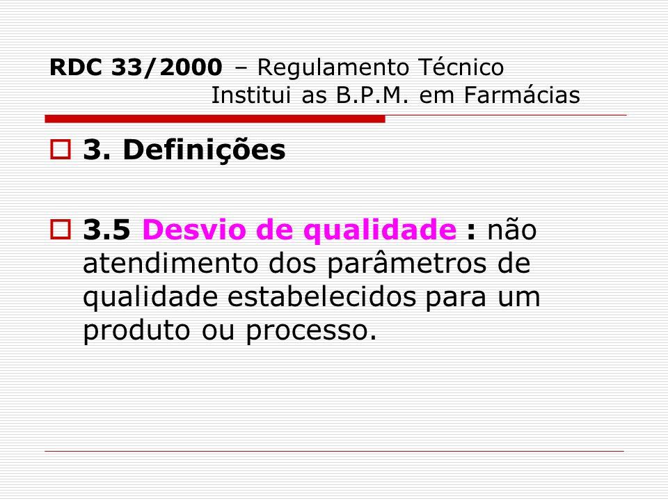 RDC 33/2000 – Regulamento Técnico Institui as B.P.M. em Farmácias 3. Definições 3.5 Desvio de qualidade : não atendimento dos parâmetros de qualidade