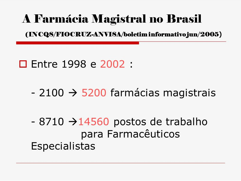 A Farmácia Magistral no Brasil (INCQS/FIOCRUZ-ANVISA/boletim informativo jun/2005 ) Entre 1998 e 2002 : - 2100 5200 farmácias magistrais - 8710 14560