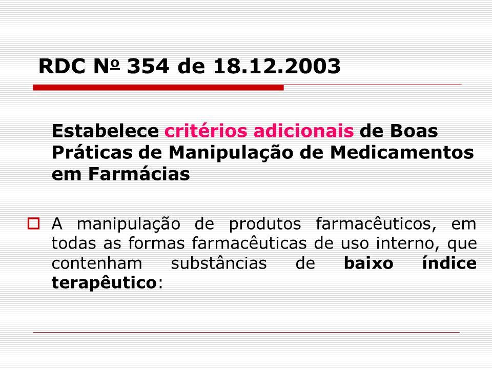 RDC N o 354 de 18.12.2003 Estabelece critérios adicionais de Boas Práticas de Manipulação de Medicamentos em Farmácias A manipulação de produtos farma
