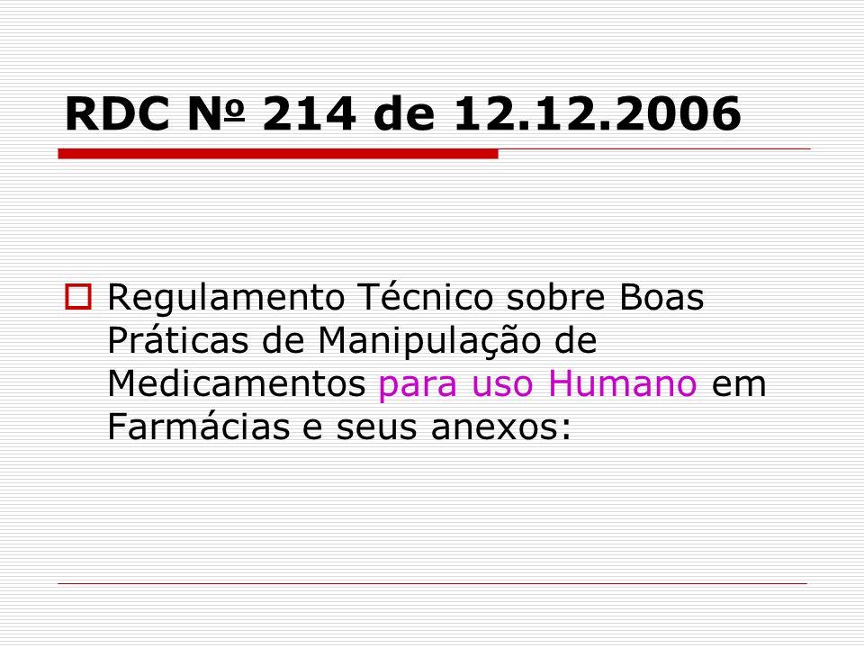 RDC N o 214 de 12.12.2006 Regulamento Técnico sobre Boas Práticas de Manipulação de Medicamentos para uso Humano em Farmácias e seus anexos: