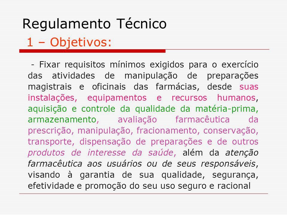 Regulamento Técnico 1 – Objetivos: - Fixar requisitos mínimos exigidos para o exercício das atividades de manipulação de preparações magistrais e ofic