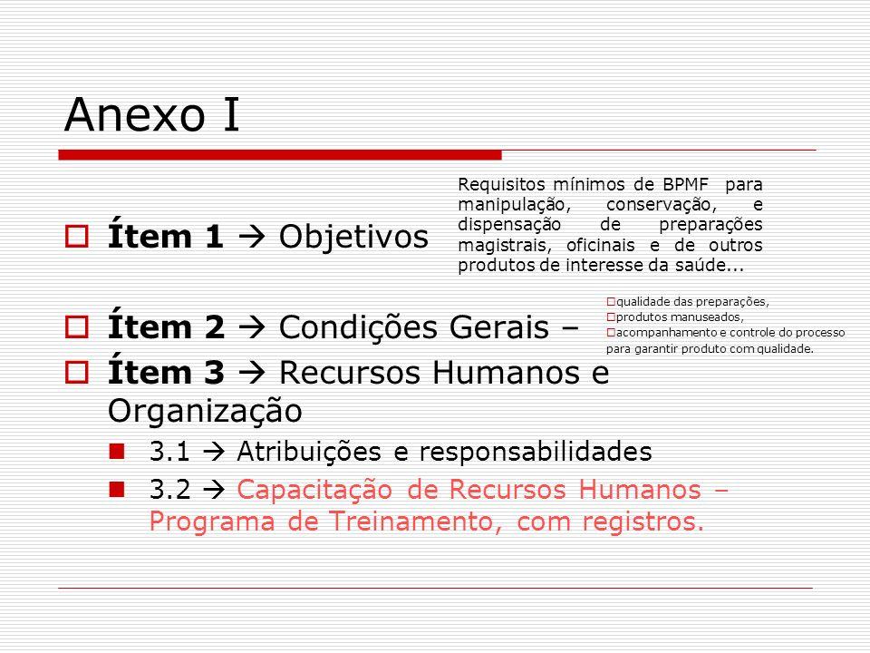 Anexo I Ítem 1 Objetivos Ítem 2 Condições Gerais – Ítem 3 Recursos Humanos e Organização 3.1 Atribuições e responsabilidades 3.2 Capacitação de Recurs