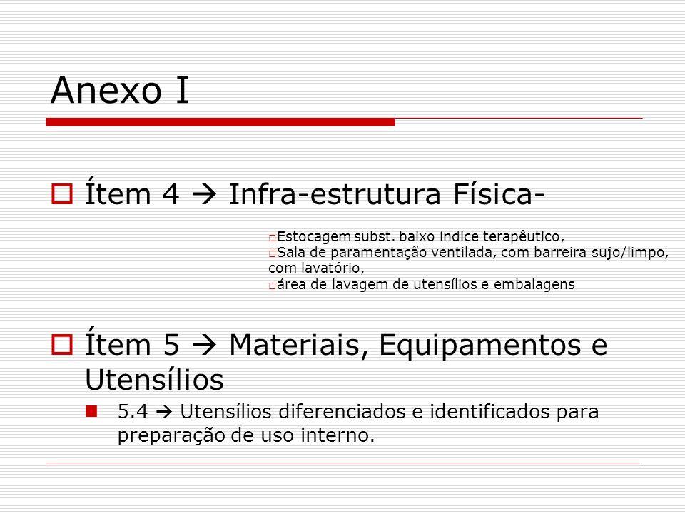 Anexo I Ítem 4 Infra-estrutura Física- Ítem 5 Materiais, Equipamentos e Utensílios 5.4 Utensílios diferenciados e identificados para preparação de uso