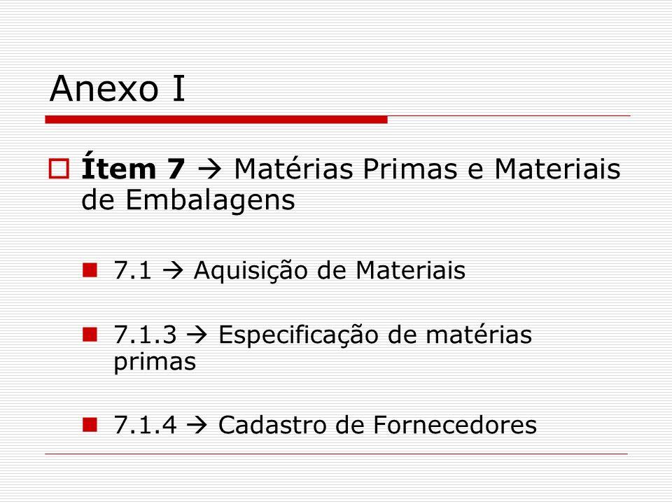 Anexo I Ítem 7 Matérias Primas e Materiais de Embalagens 7.1 Aquisição de Materiais 7.1.3 Especificação de matérias primas 7.1.4 Cadastro de Fornecedo