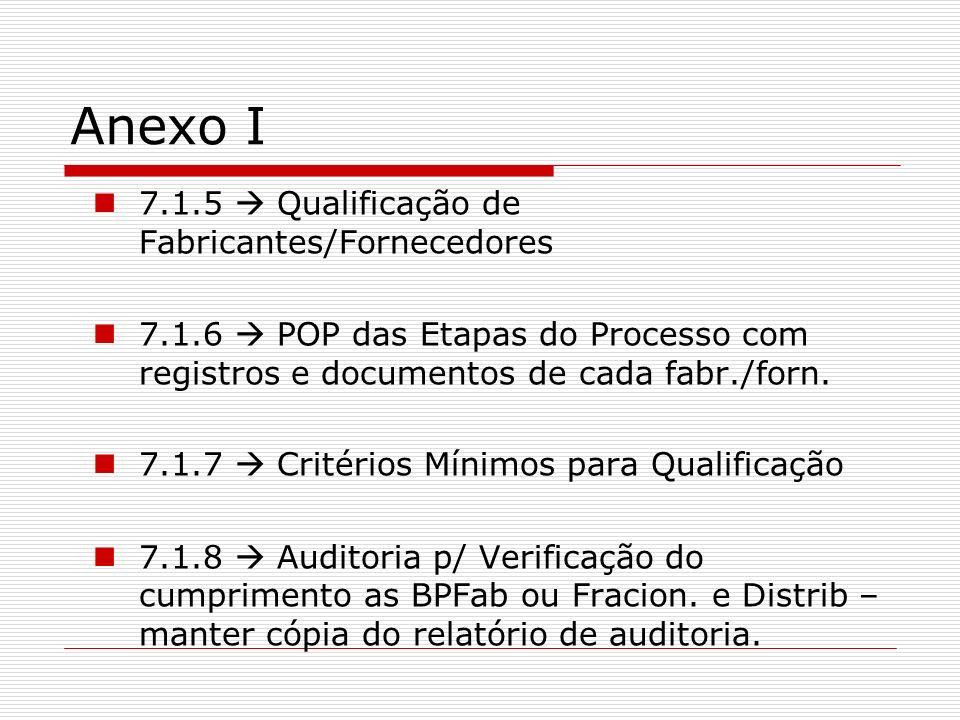 Anexo I 7.1.5 Qualificação de Fabricantes/Fornecedores 7.1.6 POP das Etapas do Processo com registros e documentos de cada fabr./forn. 7.1.7 Critérios