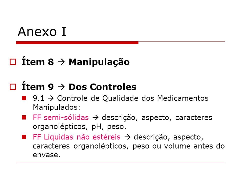 Anexo I Ítem 8 Manipulação Ítem 9 Dos Controles 9.1 Controle de Qualidade dos Medicamentos Manipulados: FF semi-sólidas descrição, aspecto, caracteres