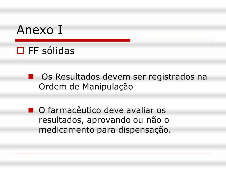 Anexo I FF sólidas Os Resultados devem ser registrados na Ordem de Manipulação O farmacêutico deve avaliar os resultados, aprovando ou não o medicamen
