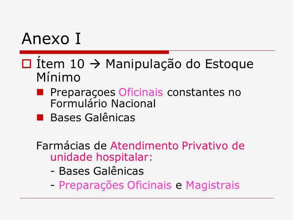 Anexo I Ítem 10 Manipulação do Estoque Mínimo Preparaçoes Oficinais constantes no Formulário Nacional Bases Galênicas Farmácias de Atendimento Privati