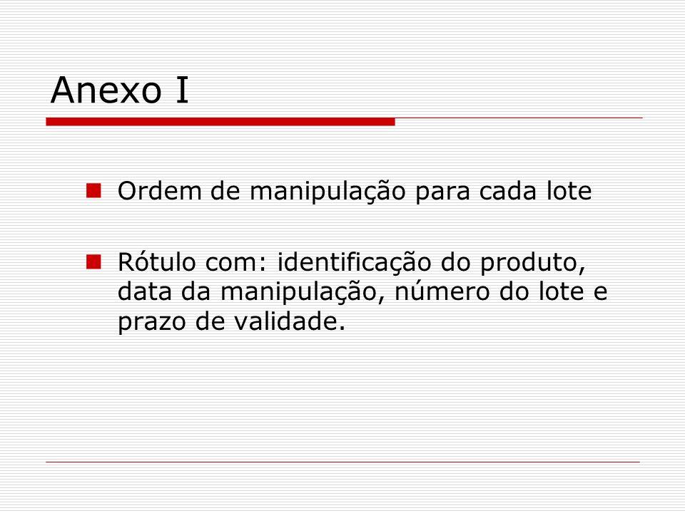 Anexo I Ordem de manipulação para cada lote Rótulo com: identificação do produto, data da manipulação, número do lote e prazo de validade.