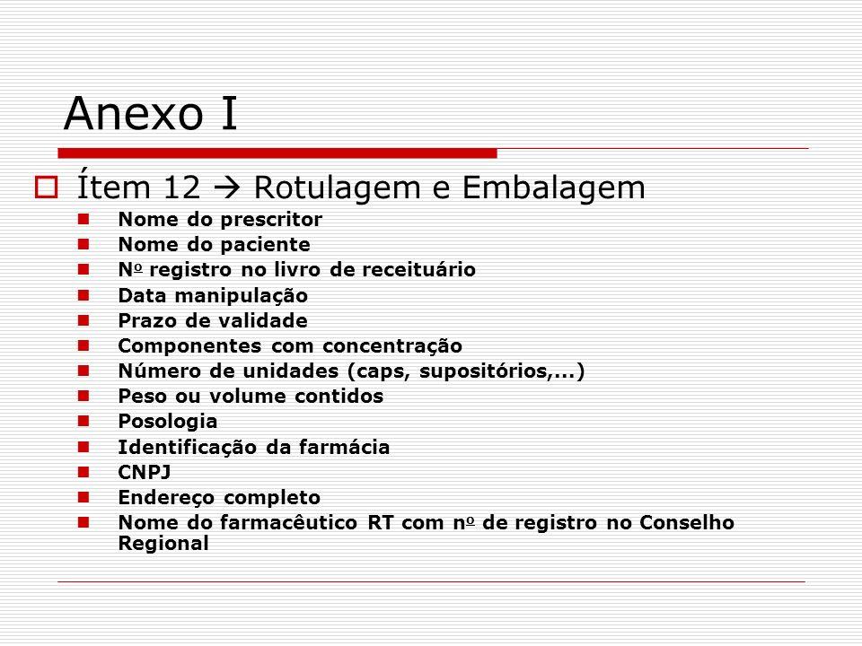 Anexo I Ítem 12 Rotulagem e Embalagem Nome do prescritor Nome do paciente N o registro no livro de receituário Data manipulação Prazo de validade Comp