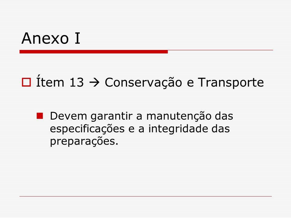 Anexo I Ítem 13 Conservação e Transporte Devem garantir a manutenção das especificações e a integridade das preparações.