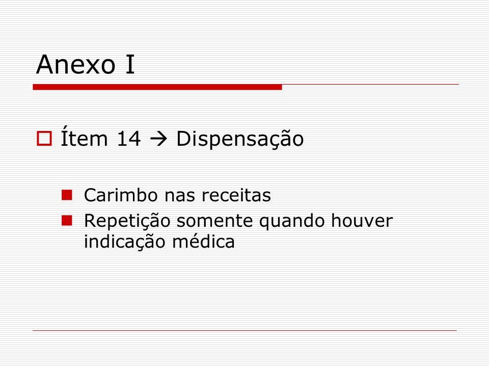 Anexo I Ítem 14 Dispensação Carimbo nas receitas Repetição somente quando houver indicação médica