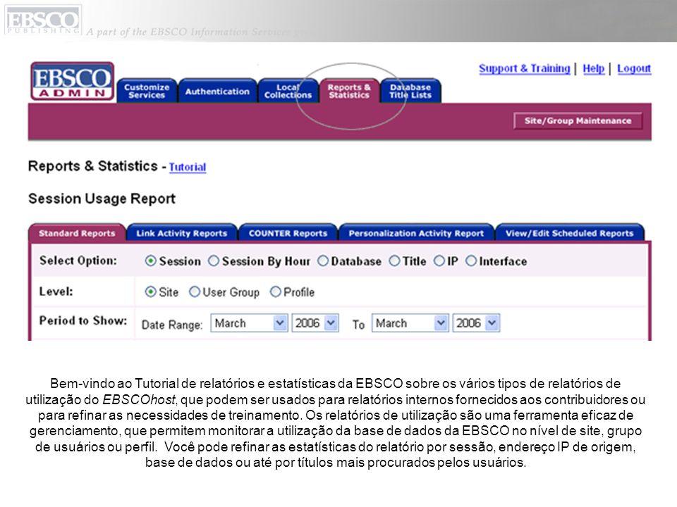 Bem-vindo ao Tutorial de relatórios e estatísticas da EBSCO sobre os vários tipos de relatórios de utilização do EBSCOhost, que podem ser usados para relatórios internos fornecidos aos contribuidores ou para refinar as necessidades de treinamento.