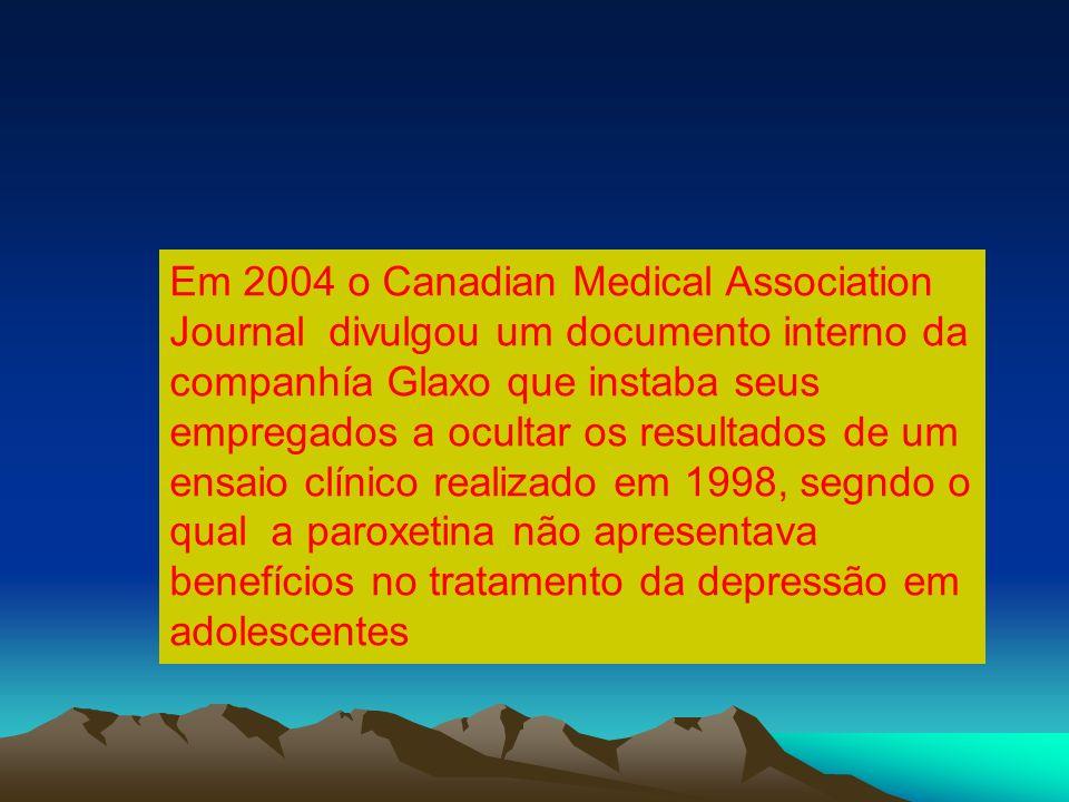 Em 2004 o Canadian Medical Association Journal divulgou um documento interno da companhía Glaxo que instaba seus empregados a ocultar os resultados de