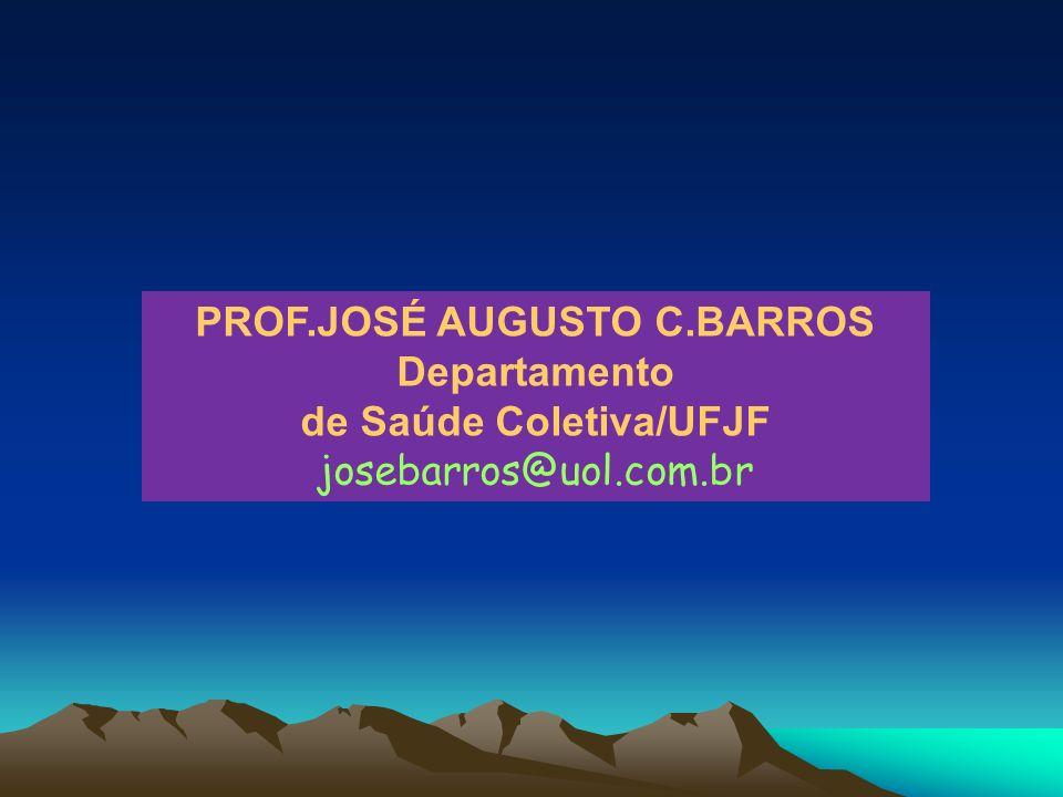PROF.JOSÉ AUGUSTO C.BARROS Departamento de Saúde Coletiva/UFJF josebarros@uol.com.br