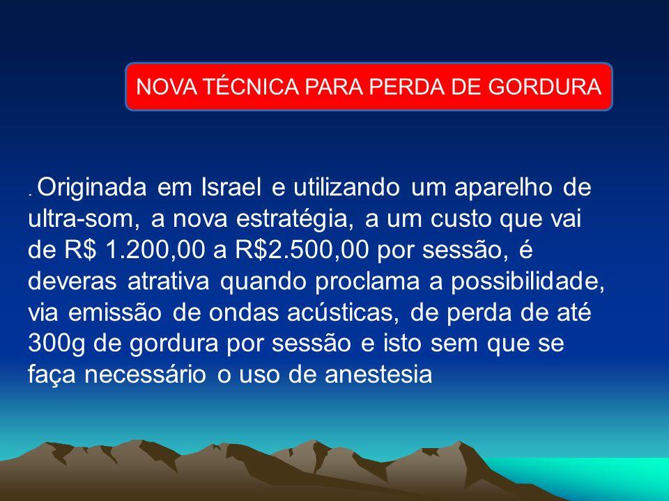 . Originada em Israel e utilizando um aparelho de ultra-som, a nova estratégia, a um custo que vai de R$ 1.200,00 a R$2.500,00 por sessão, é deveras a