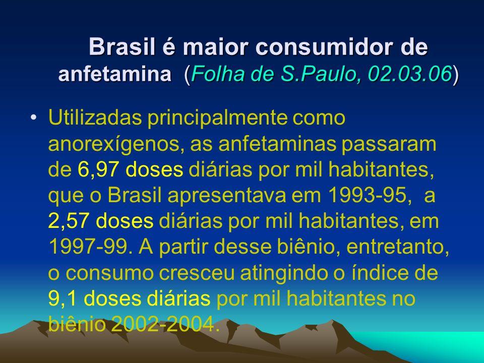 Brasil é maior consumidor de anfetamina (Folha de S.Paulo, 02.03.06) Utilizadas principalmente como anorexígenos, as anfetaminas passaram de 6,97 dose