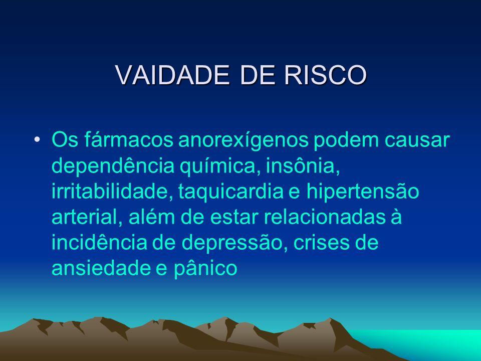 VAIDADE DE RISCO Os fármacos anorexígenos podem causar dependência química, insônia, irritabilidade, taquicardia e hipertensão arterial, além de estar