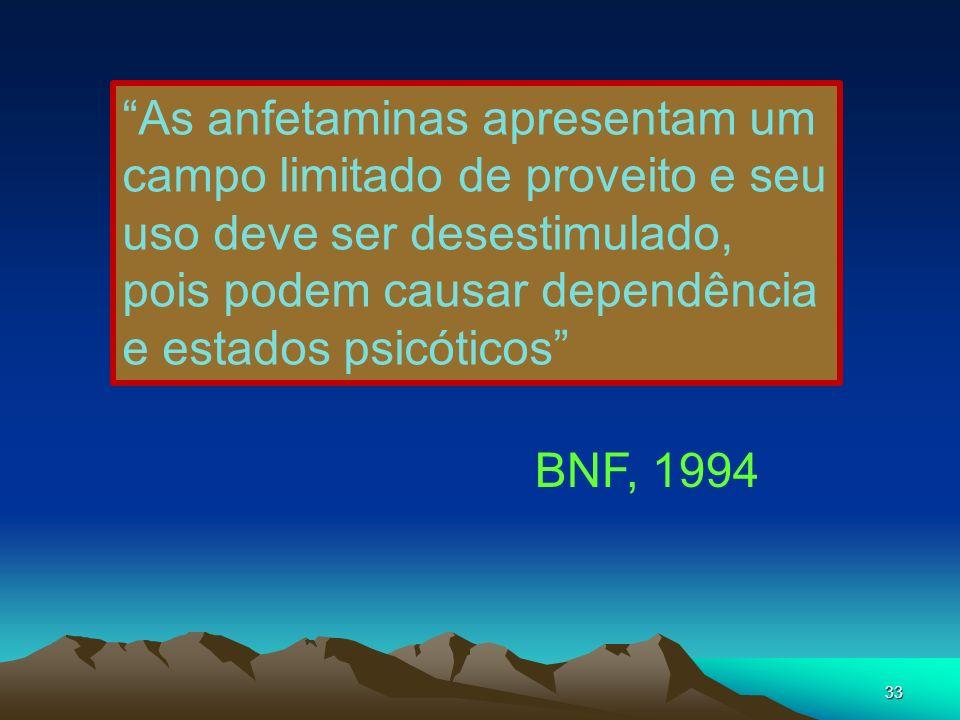 33 As anfetaminas apresentam um campo limitado de proveito e seu uso deve ser desestimulado, pois podem causar dependência e estados psicóticos BNF, 1
