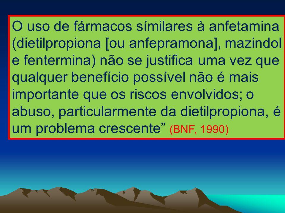 O uso de fármacos símilares à anfetamina (dietilpropiona [ou anfepramona], mazindol e fentermina) não se justifica uma vez que qualquer benefício poss
