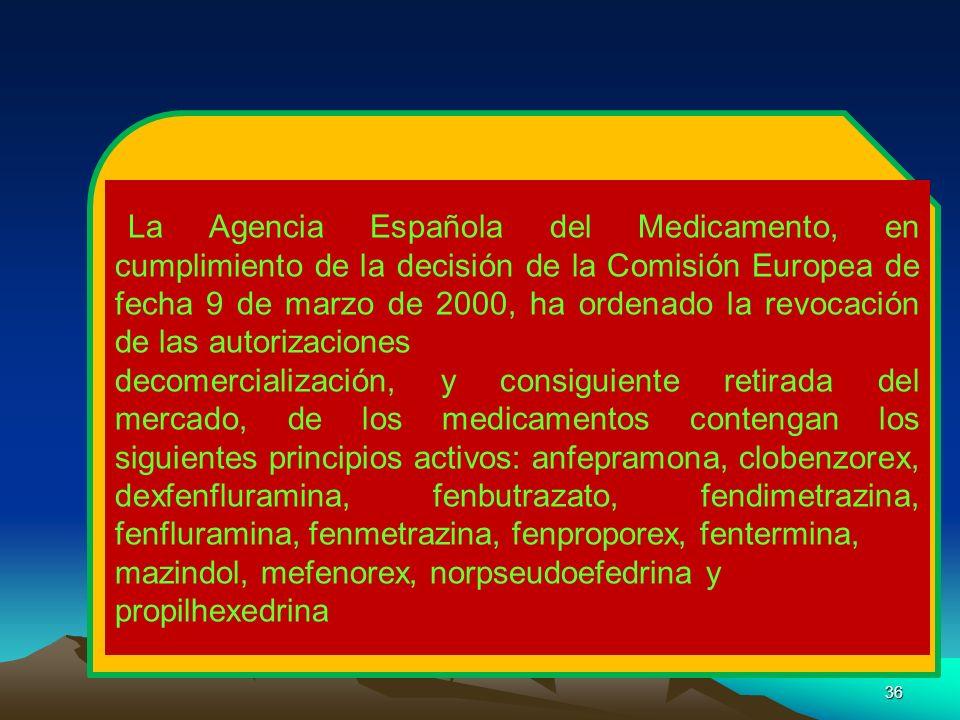36 La Agencia Española del Medicamento, en cumplimiento de la decisión de la Comisión Europea de fecha 9 de marzo de 2000, ha ordenado la revocación d