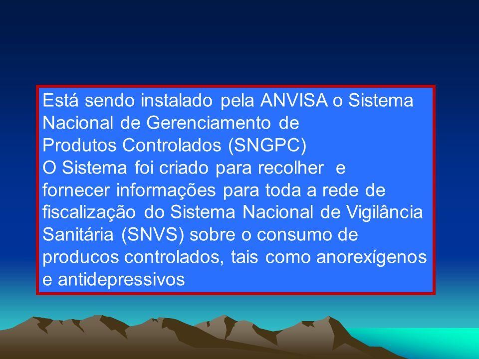 37 Está sendo instalado pela ANVISA o Sistema Nacional de Gerenciamento de Produtos Controlados (SNGPC) O Sistema foi criado para recolher e fornecer