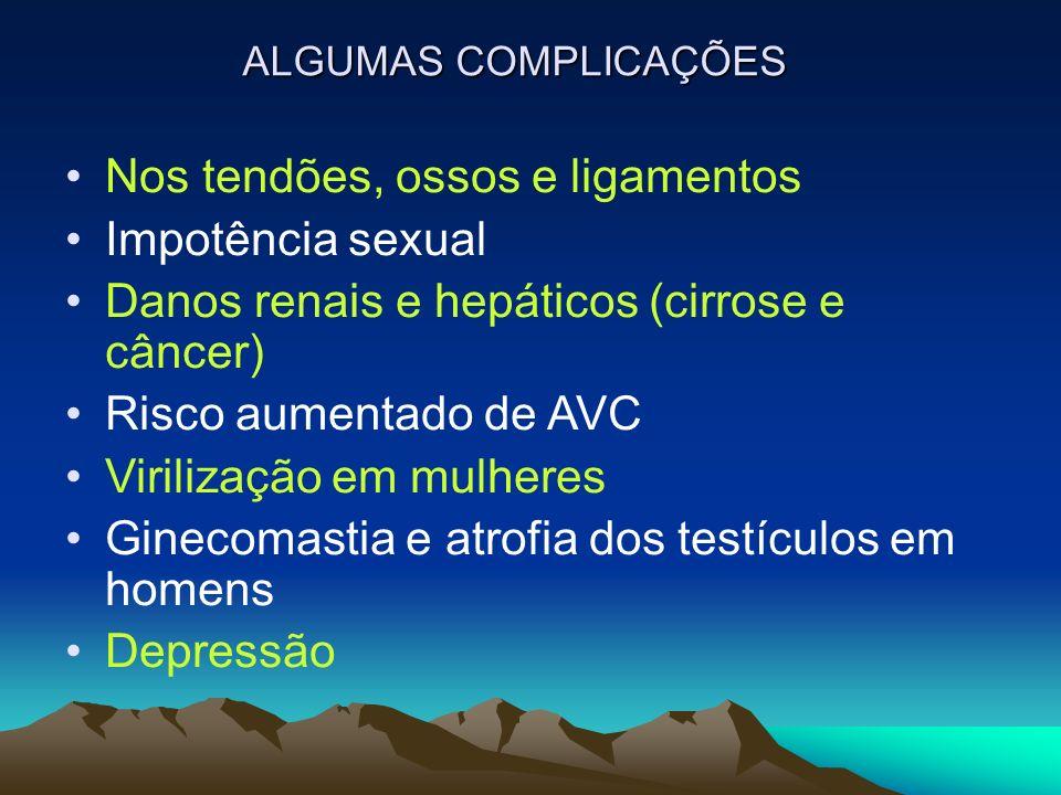 ALGUMAS COMPLICAÇÕES Nos tendões, ossos e ligamentos Impotência sexual Danos renais e hepáticos (cirrose e câncer) Risco aumentado de AVC Virilização