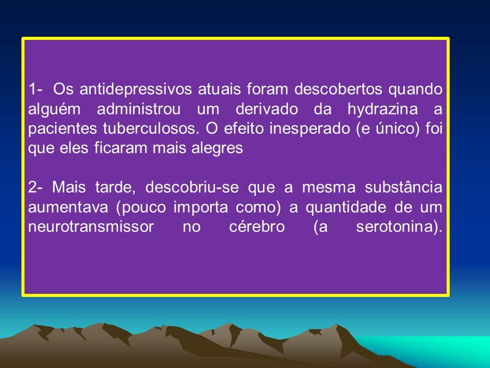 1- Os antidepressivos atuais foram descobertos quando alguém administrou um derivado da hydrazina a pacientes tuberculosos. O efeito inesperado (e úni