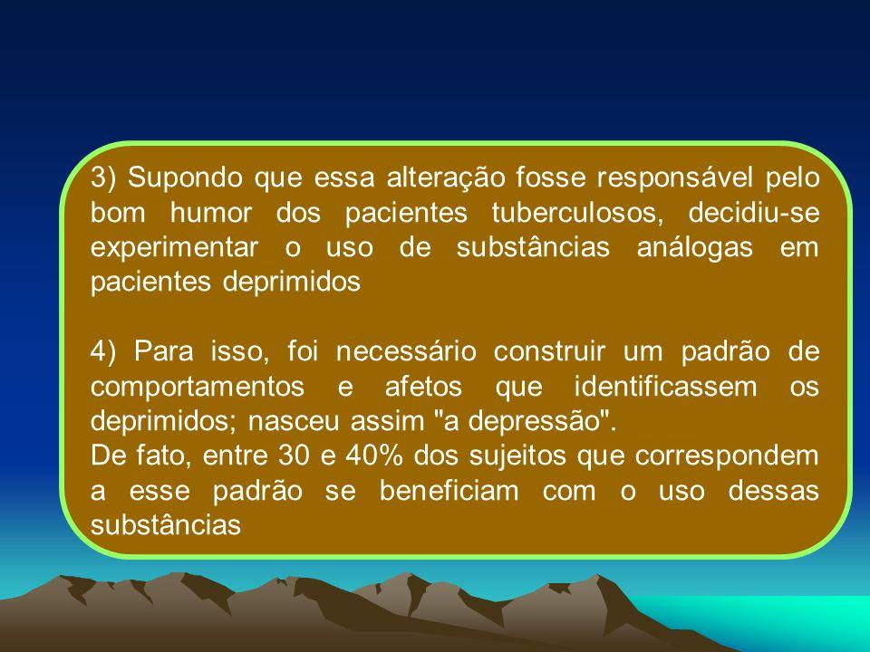 3) Supondo que essa alteração fosse responsável pelo bom humor dos pacientes tuberculosos, decidiu-se experimentar o uso de substâncias análogas em pa