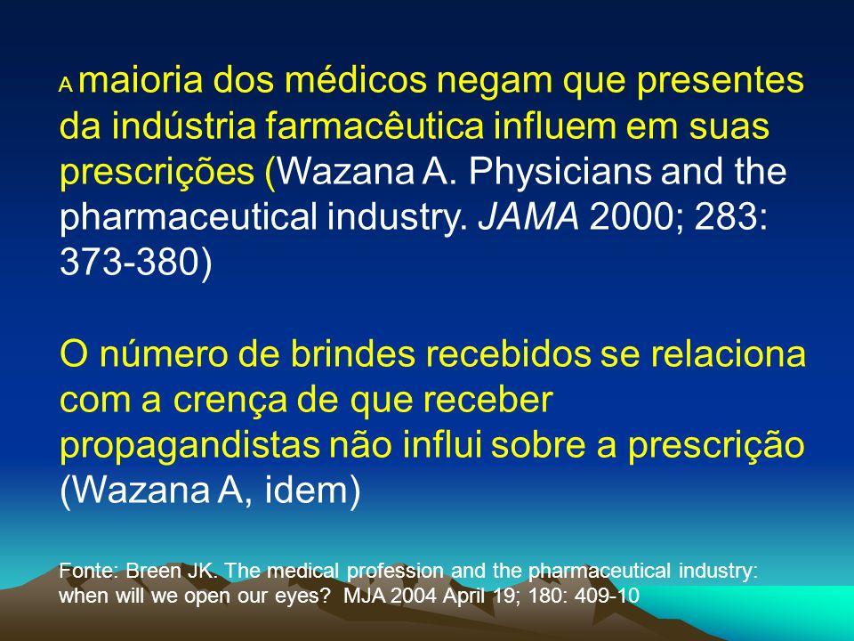 A maioria dos médicos negam que presentes da indústria farmacêutica influem em suas prescrições (Wazana A. Physicians and the pharmaceutical industry.