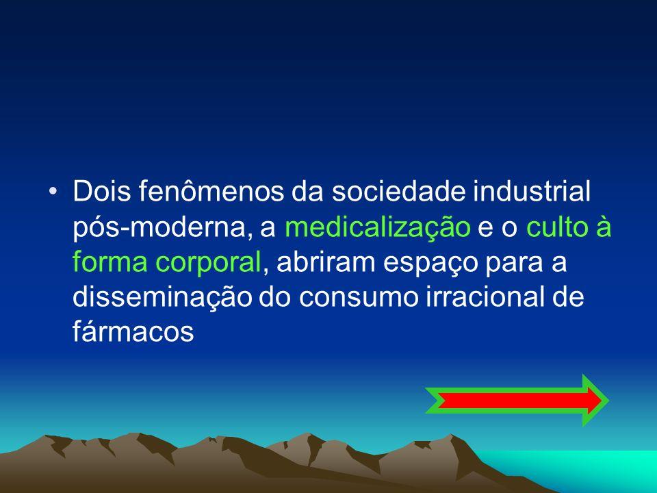 Dois fenômenos da sociedade industrial pós-moderna, a medicalização e o culto à forma corporal, abriram espaço para a disseminação do consumo irracion