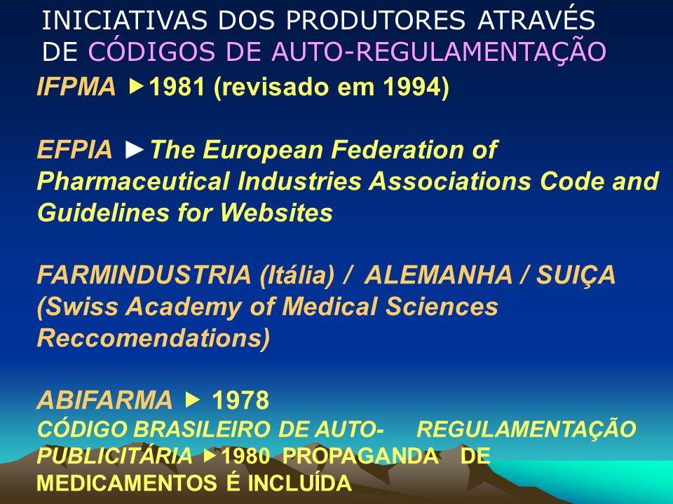 IFPMA 1981 (revisado em 1994) EFPIAThe European Federation of Pharmaceutical Industries Associations Code and Guidelines for Websites FARMINDUSTRIA (I